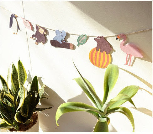BENTOY Bunting Garland Set In The Zoo Garland A704D