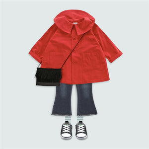 2-8Y Girls Korean Fashion Red Jacket Coat A208F