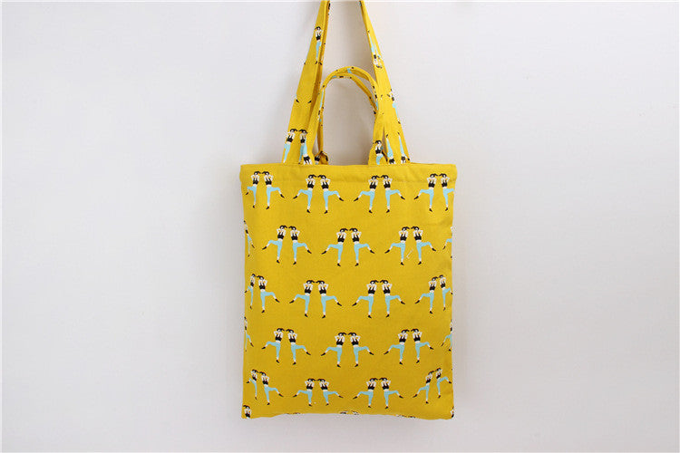 Cotton Canvas Shoulder Hand Bag Tote Bag with Zipper D201B