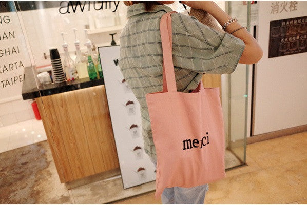 Cotton Canvas Shoulder Hand Bag Tote Bag with Zipper D201N