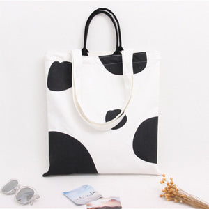 Cotton Canvas Shoulder Hand Bag Tote Bag with Zipper D2012I