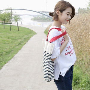 Cotton Canvas Shoulder Hand Bag Tote Bag with Zipper D2012L