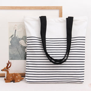 Cotton Canvas Shoulder Hand Bag Tote Bag with Zipper D2012J