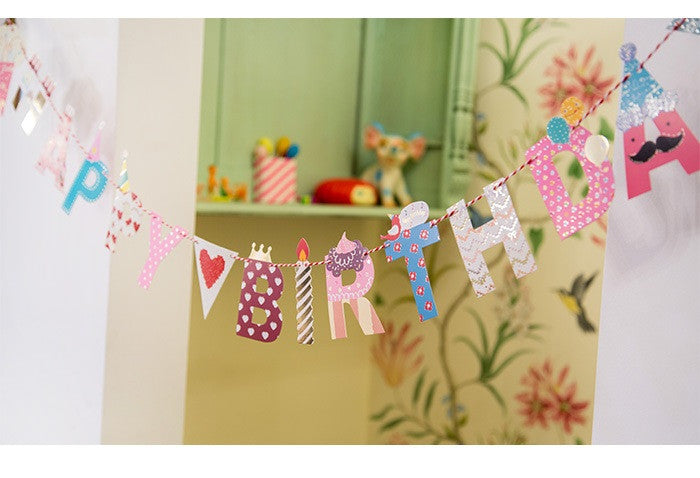 BENTOY Party Flag Bunting Garland Set Happy Birthday Garland A7042A