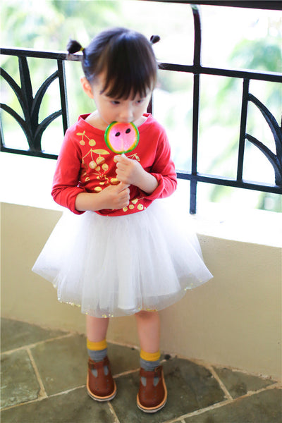 1-6Y Girls Golden Cherry Red Top A200C2L