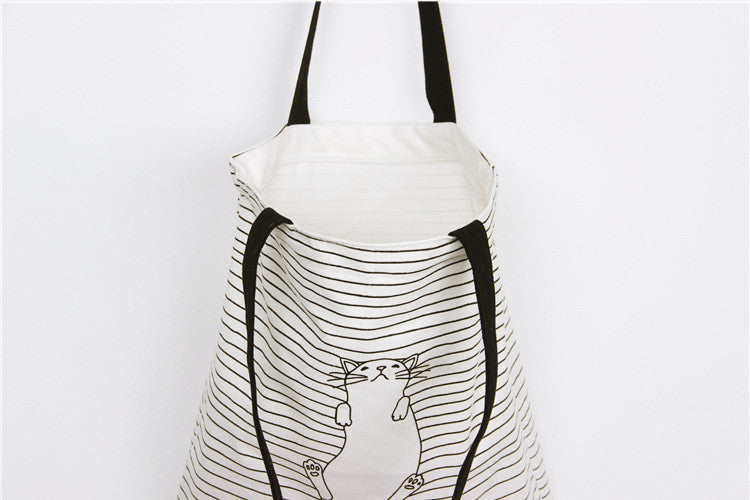 Cotton Canvas Shoulder Hand Bag Tote Bag with Zipper D2013E