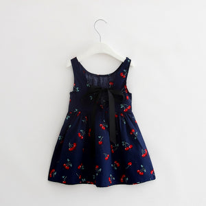 2-7Y Dark Blue Cherry Dress A2017A