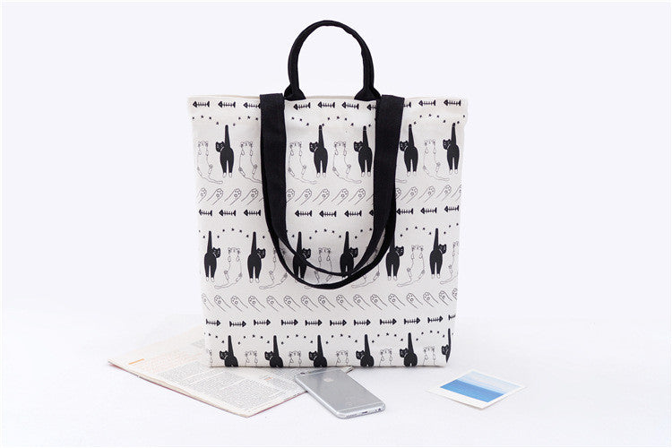 Cotton Canvas Shoulder Hand Bag Tote Bag with Velcro D2012B