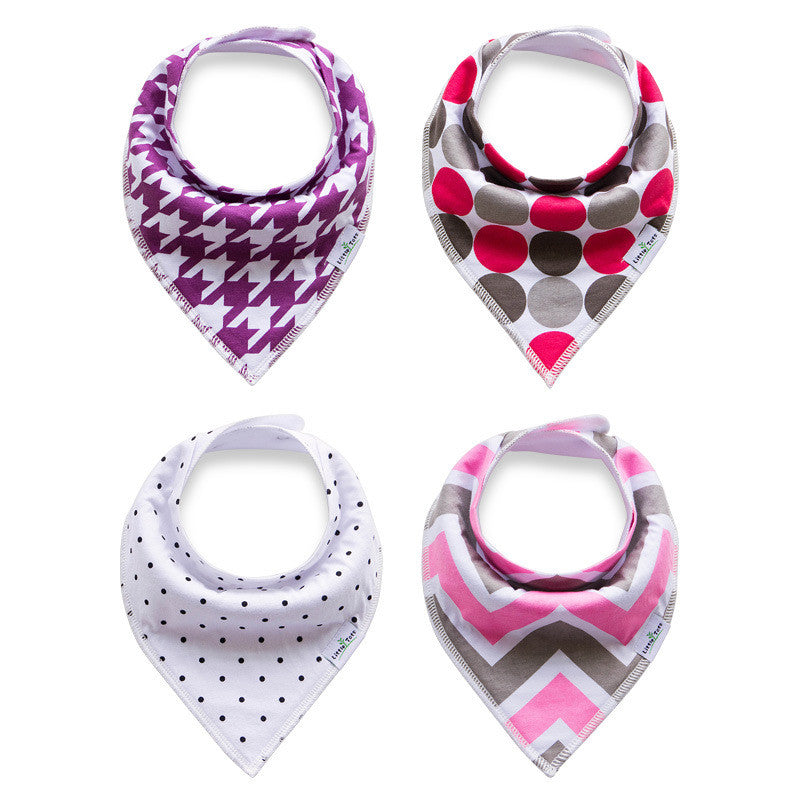Set of 4 Bandana Drool Bibs with Adjustable Snaps A321BD
