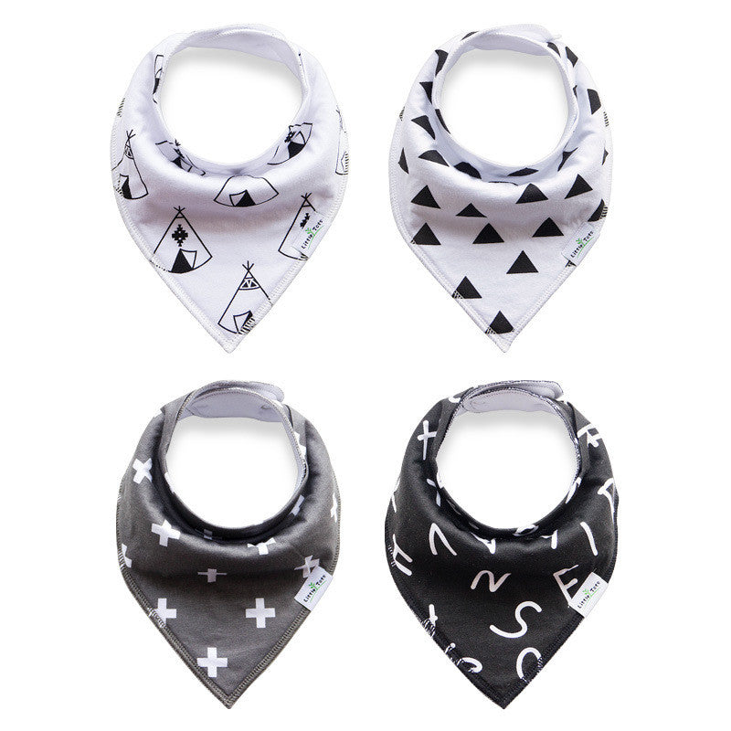 Set of 4 Bandana Drool Bibs with Adjustable Snaps A321BE