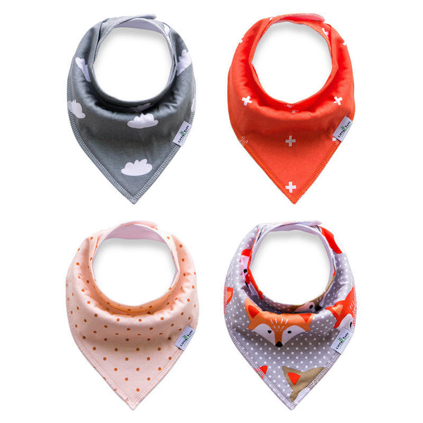 Set of 4 Bandana Drool Bibs with Adjustable Snaps A321BF