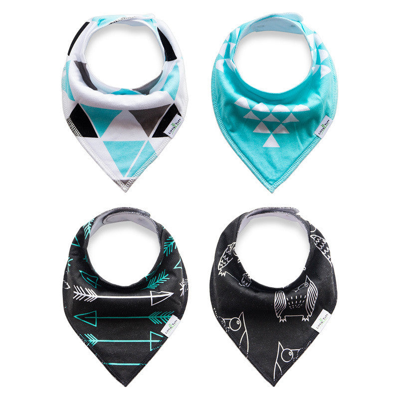 Set of 4 Bandana Drool Bibs with Adjustable Snaps A321BG