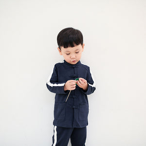 2-8Y Boys Mandarin Collar Tracking Top and Bottom 2pcs Set A100C41J