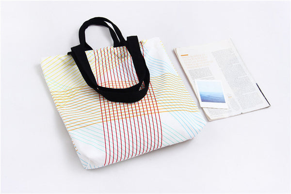 Cotton Canvas Shoulder Hand Bag Tote Bag with Velcro D2013A / D2013B / D2013C/ D2013D