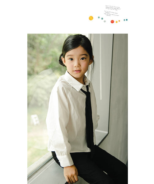 3-12Y Girls White Top with Black Tie A2024A (Mother sizes available)