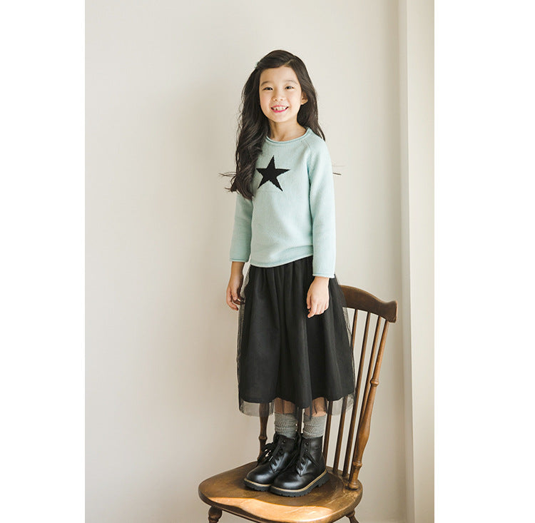 3-12Y Girls Black Tulle Long Skirt A2044L (Mother sizes available)