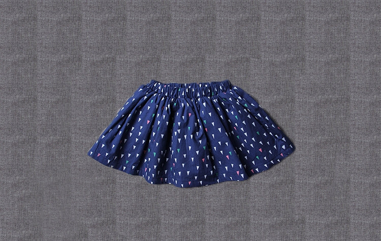 2-10Y Girls Blue Triangles Skirt G2141I (Mother sizes available)