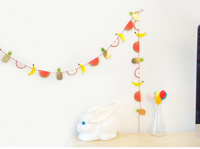 BENTOY Party Flag Bunting Garland Set Fruits Garland A7042N
