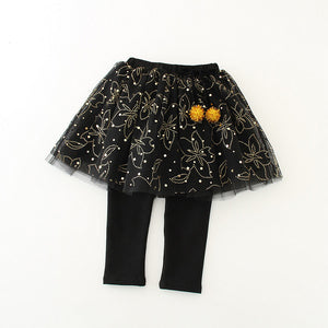 2-7Y Kids Black Glitter Tutu Legging Pants A20451C