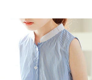 3-12Y Girls Blue Stripes Dress G2102K