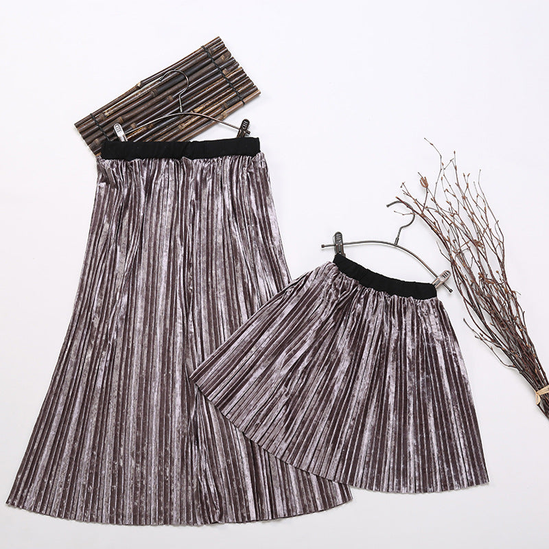 Girls and Mothers Pleated Skirt F502 (Mother sizes available)