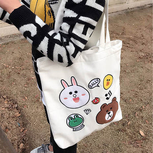 Cotton Canvas Shoulder Hand Bag Tote Bag with Zipper D2013K