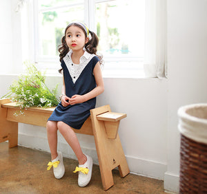 3-8Y Girls Blue and White Collar Dress G220F