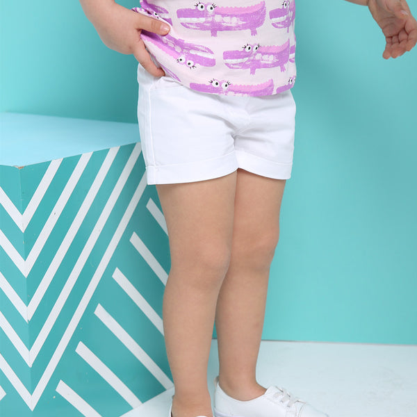 1-6Y Girls White Shorts A2046B