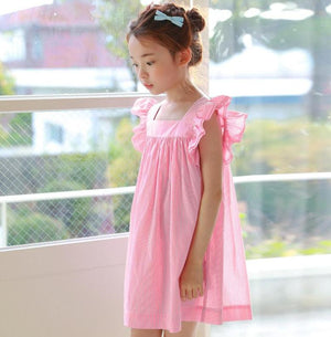 3-12Y Girls Pink Stripes Dress G2102J