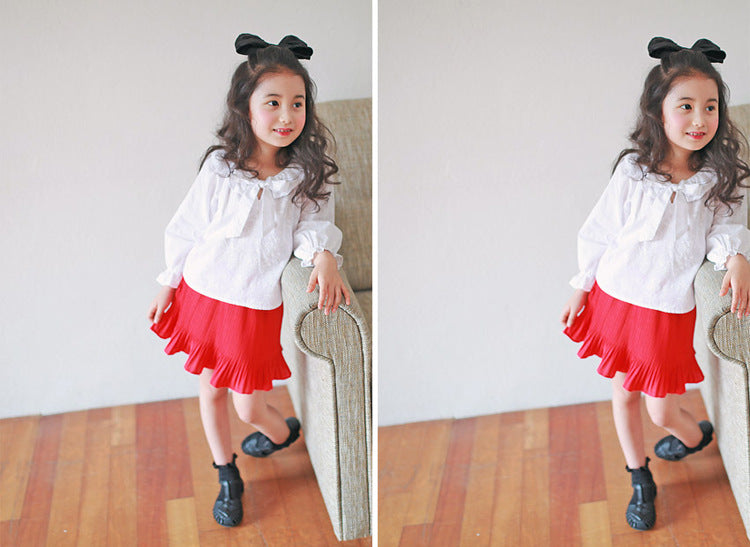3-15Y Girls White Blouse Red Skort 2pcs Set G224GI