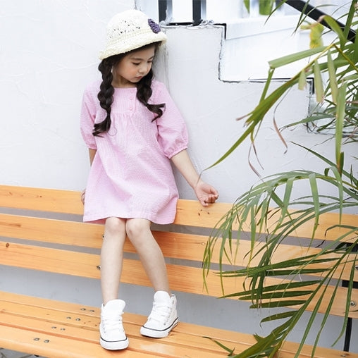 2-12Y Girls Pink Puffy Sleeve Dress A2016G