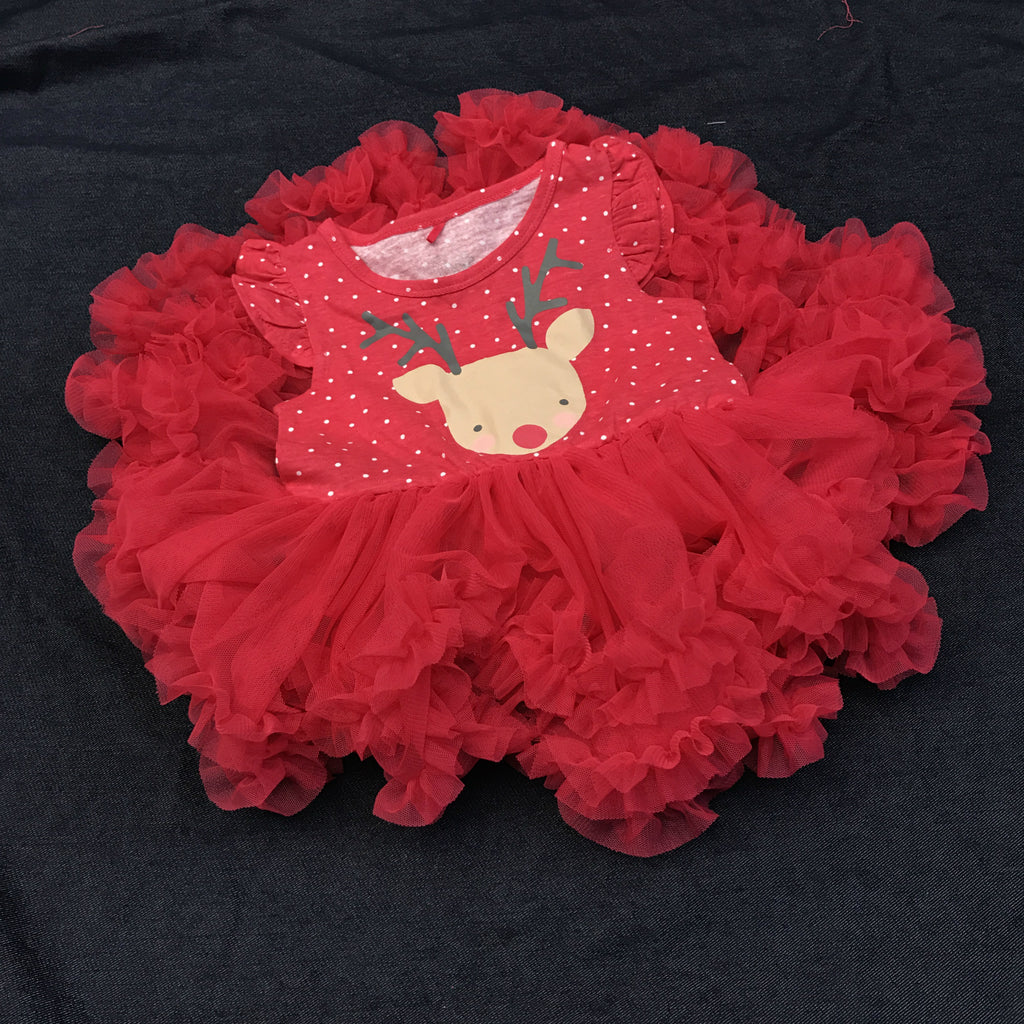 1-7Y Girls Christmas Reindeer Tulle Dress A20128F