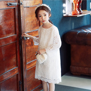 3-15Y Girls White Lace Dress G21033D