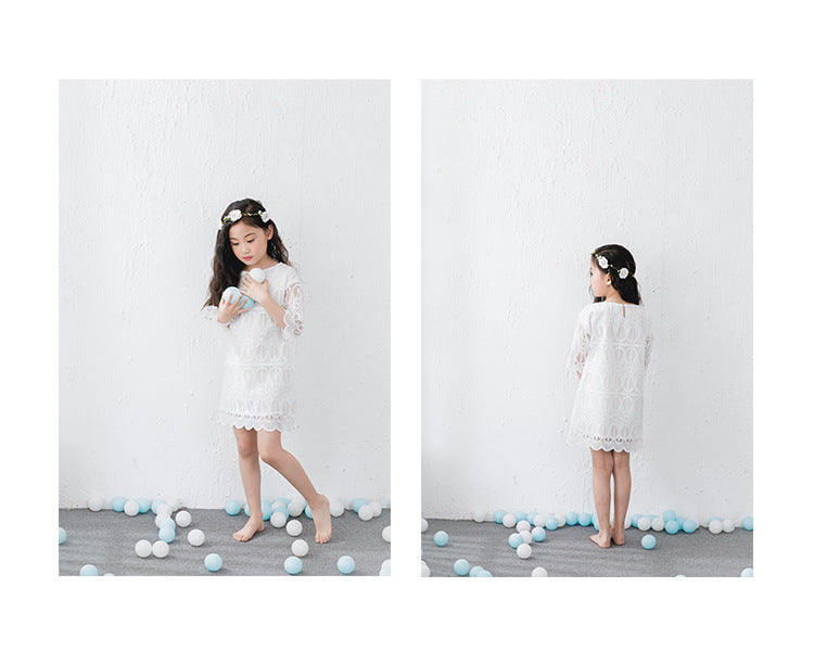 3-15Y Girls White Lace Dress G21033D (Mother sizes available)