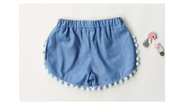 1-6Y Girls Blue Pom Pom Bloomer Shorts A2043J