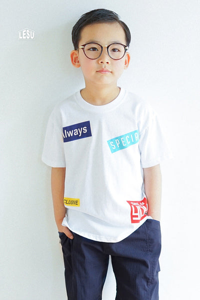 3-12Y White Banners Shirt by LESU A1044N