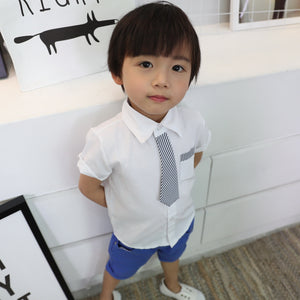 2-8Y Boys Short-sleeve Collar Shirt with Tie A10484K