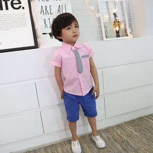 2-7Y Boys Short-sleeve Collar Shirt with Tie A10484L