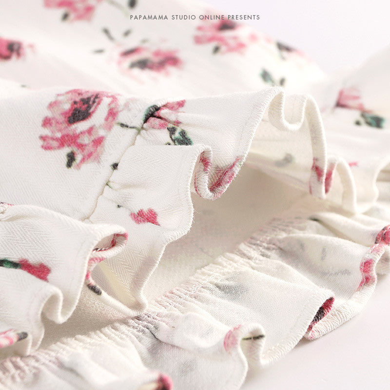 2-7Y Girls White Floral Ruffles Skirts G214E