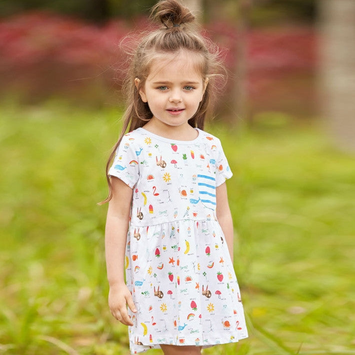 2-7Y Girls Little Maven Garden and Animals Dress A2014G
