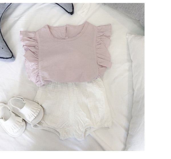 1-4Y Girls Pink Ruffles Top A2022E
