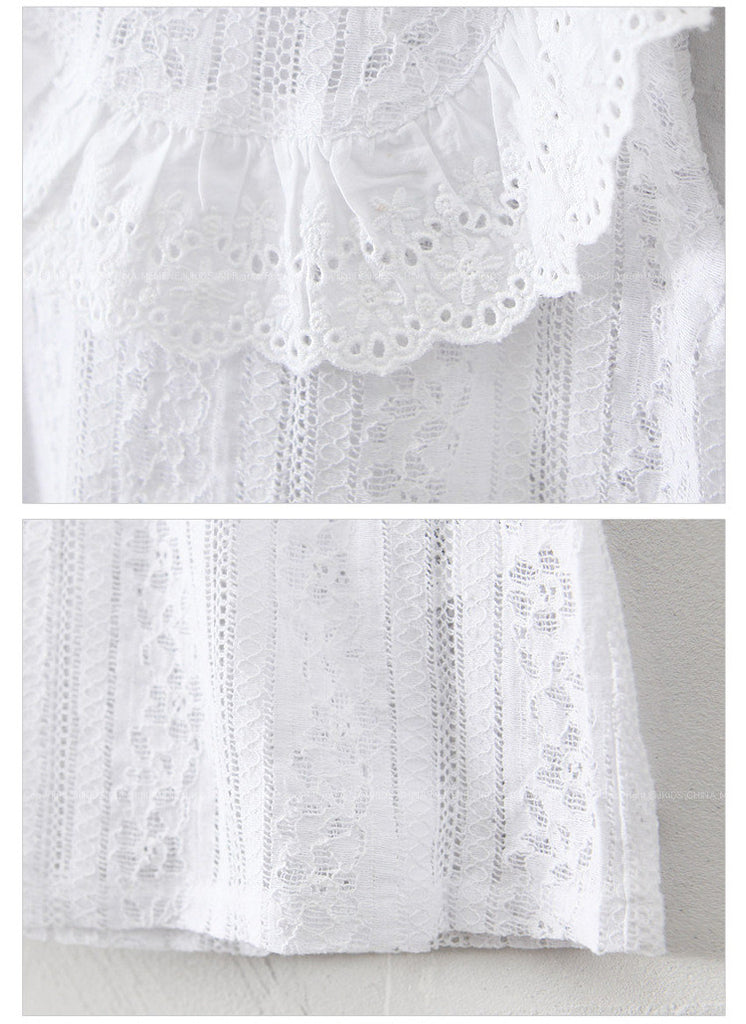 3-10Y Girls White Lacey Blouse G211O (Mother size available)