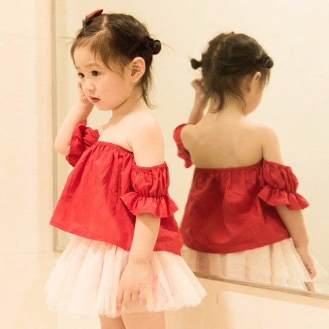 1-5Y Girls Red Tulle Top and Bottom 2pcs Set G240N
