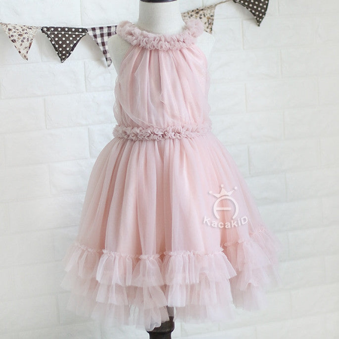 1-4Y Girls Pink Tulle Dress G240Q