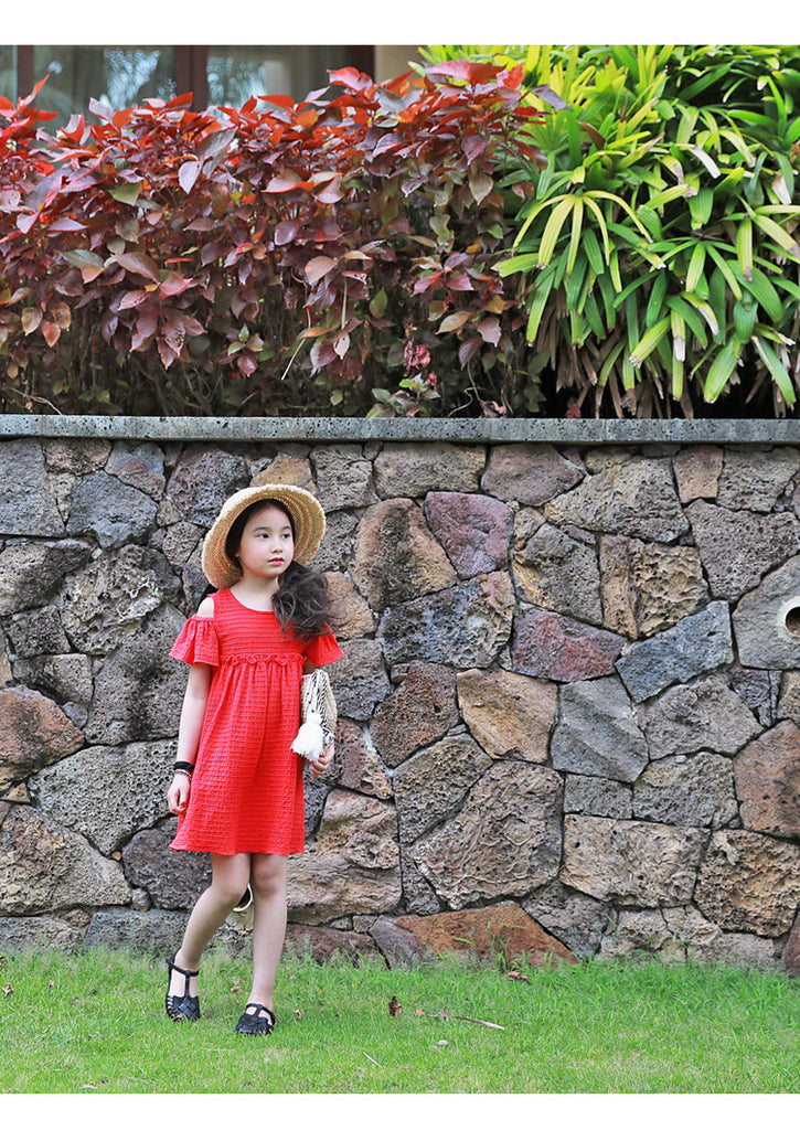 3-15Y Girls Red Off-Shoulder Dress G2103E (Mother size available)