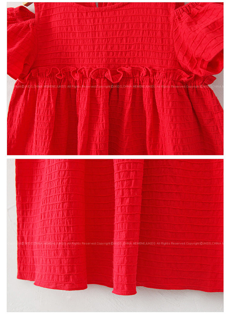 3-15Y Girls Red Off-Shoulder Dress G2103E