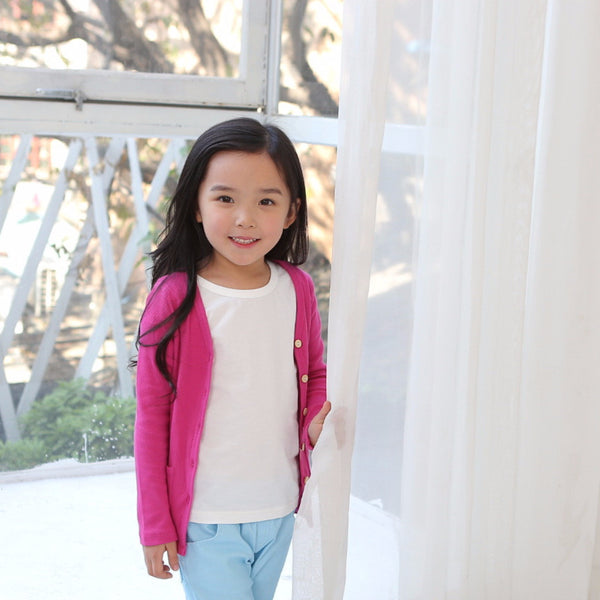 2-8Y Kids Dark Pink Cardigan A2083C