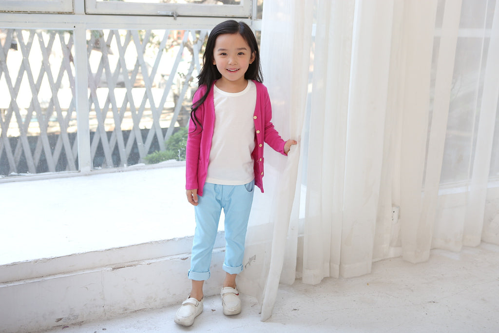2-7Y Kids Dark Pink Cardigan A2083C
