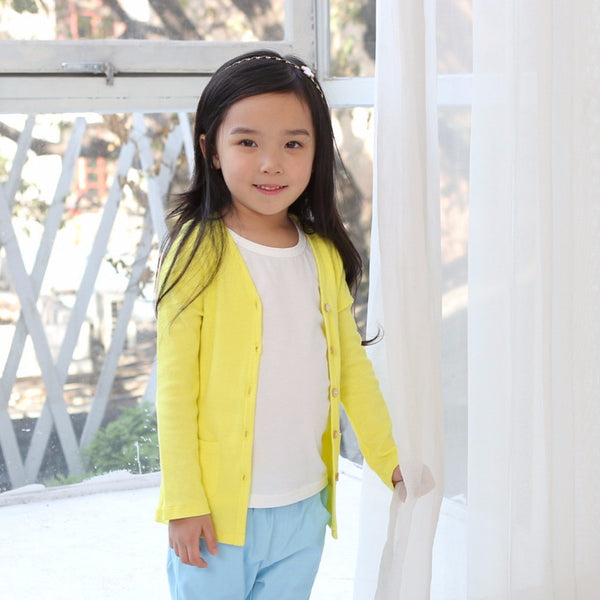 2-8Y Kids Yellow Cardigan A2083A