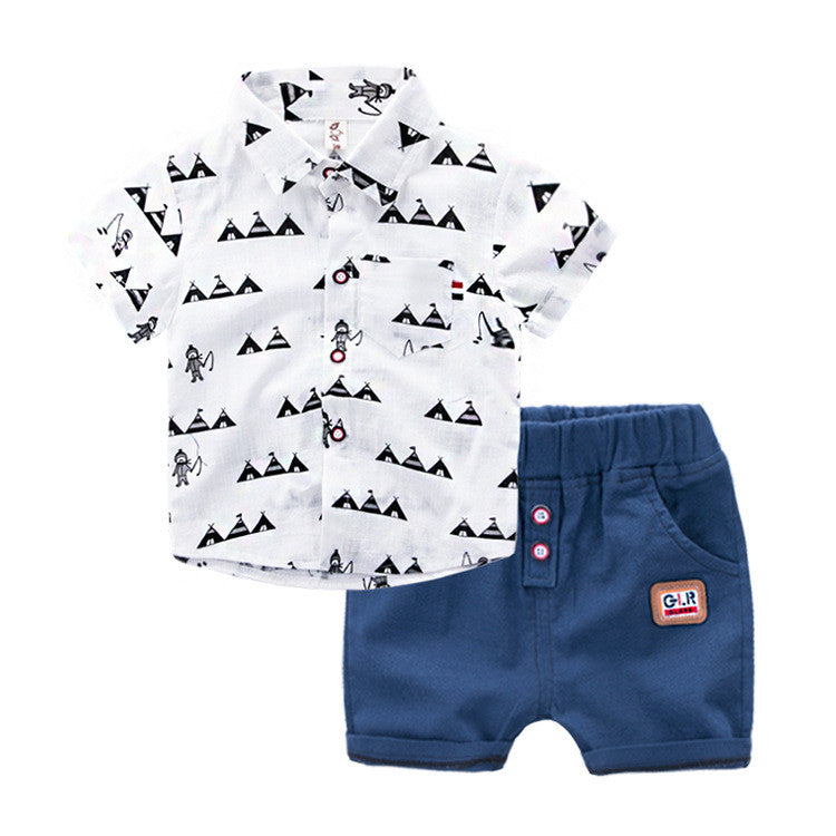 1-6Y Boys Collar Top and Bottom 2pcs Set A105G